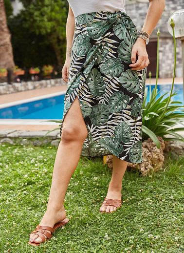 XHAN Tropik Desenli Etek 9Yxk7-41300-08 Yeşil